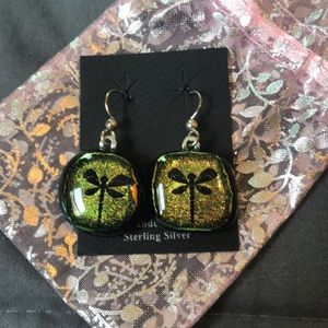 Beautiful Handcrafted Silver glass earrings